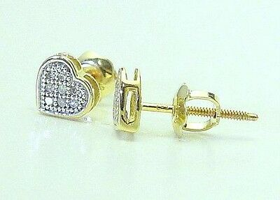 69e328047 10K Yellow Gold Diamond Heart Earrings Studs .05ct Micro Pave Set Screw  Backs