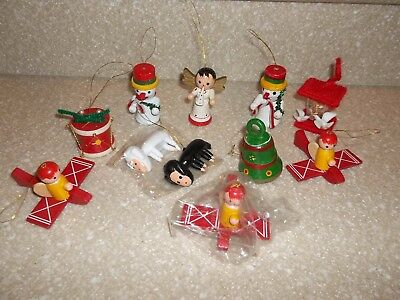 11 Assorted Vintage Wooden Wood Hand Painted Christmas Ornament Lot