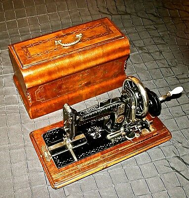 Rare 1890 Gritzner Durlach Working Antique Hand Crank Sewing Machine Wood Inlay