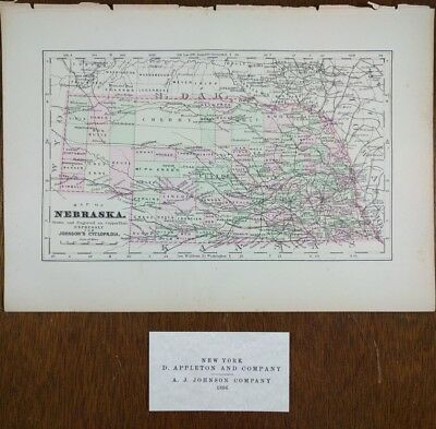 1896 NEBRASKA Map Old Antique Original OMAHA LINCOLN BELLEVUE KEARNEY MAPZ