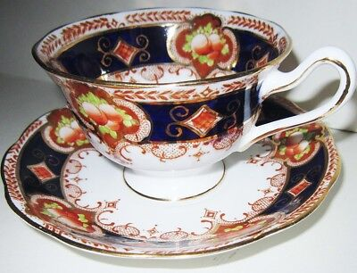 Royal Albert Crown China Imari Footed Cup & Saucer 1927-1935 Cobalt Blue Gold