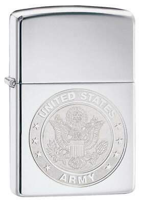 Zippo Windproof Chrome Lighter With Engraved U.S. Army Seal, 29886, New In Box