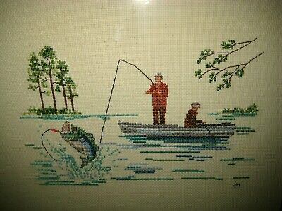 """Completed Counted Cross Stitch Bass Fishing Boat Scene Framed 13"""" x 16"""""""