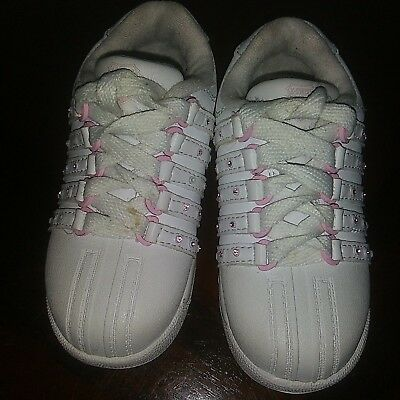 d13acdb5082ad K-SWISS RETRO CLASSIC White Baby Infant Size 2 Tennis Shoes Sneakers ...