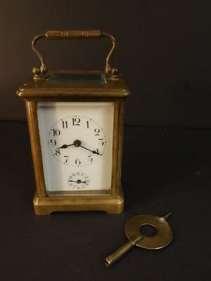All Original Victorian French CARRIAGE CLOCK With Bell Brass And Beveled Glass