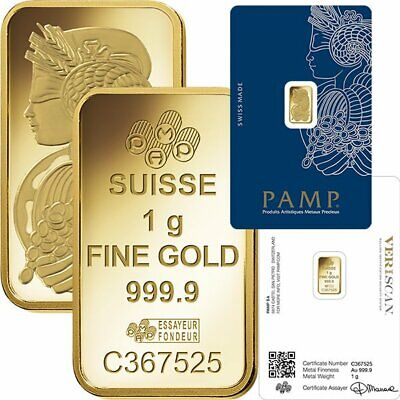 1 gram PAMP Suisse Lady Fortuna .9999 Gold Bar Sealed with Assay Cert.