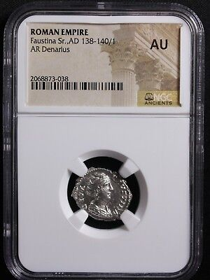 Ancient Roman Silver Denarius of Faustina Sr. (AD138-140) NGC Graded AU