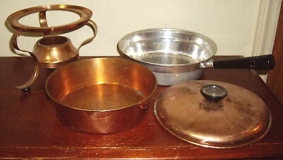 Antique Vintage Hammered Copper Chafing Dish Set