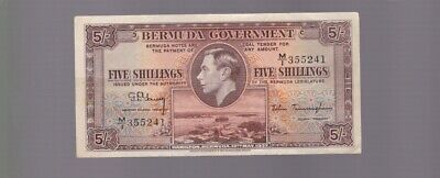 1937 5 Five Shillings Banknote note Bermuda Government war time H-600