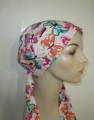 Cancer Chemo Hat Butterflies   PreTied Scarf HairLossTurban