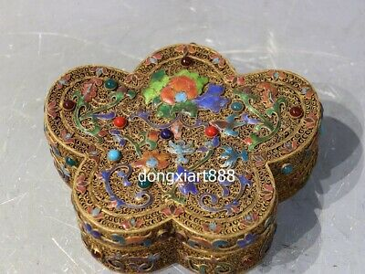China copper 24K Gold wire inlay gemstone butterfly Flower jewelry casket Box