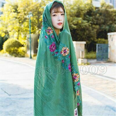 green  Large Embroidered Floral Scarf Cotton Linen Pashmina Shawl Wrap Scarves