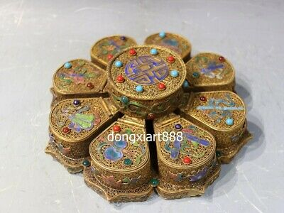 China copper 24K Gold inlay turquoise gemstone eight treasure jewelry casket Box