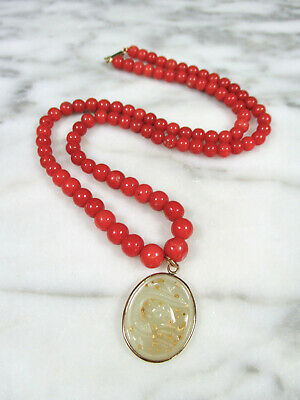 Antique Chinese Red Coral Beaded Mutton Fat Jade Dragon Pendant Necklace 9K Gold
