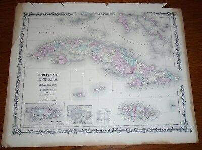 1863 Original CUBA, JAMAICA, PORTO RICO, Hand Colored, Johnson antique map