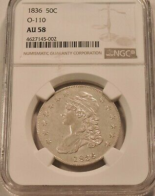 1836 50C NGC AU 58 O-110 Capped Bust Silver Half Dollar, PQ AU/Uncirculated Coin