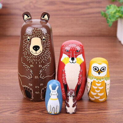 Matryoshka cute Animals Bear fox kid Toys Russian Nesting Doll Babushka Set 5pcs