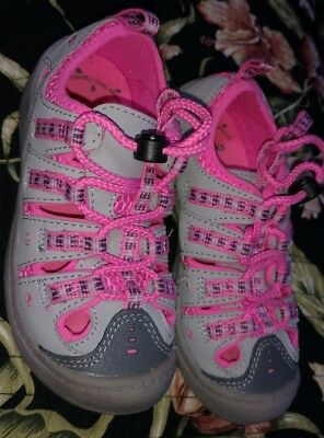 Clarks Jetta Race Girls Toddlers Grey/Pink Water Walking Sandals Shoes Size 9