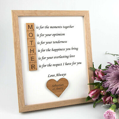 Mothers Day Personalised Engraved Wooden Scrabble Piece Photo Frame Unique Gift