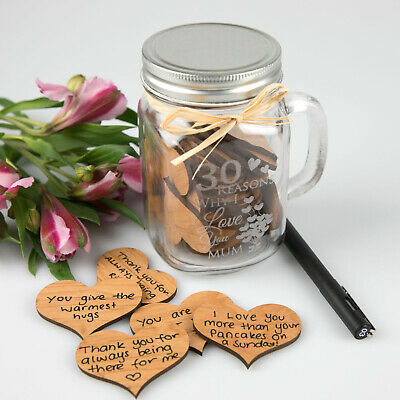 Mothers Day '30 Reasons Why I Love You'  Mason Jar with Wooden Hearts Gift