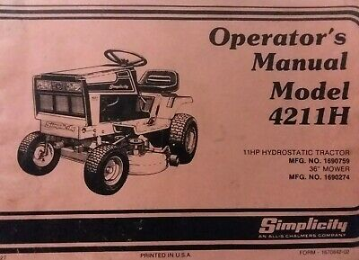 SIMPLICITY 4211H 1690759 Riding Mower Yard Lawn Garden Tractor Owner Manual  11hp