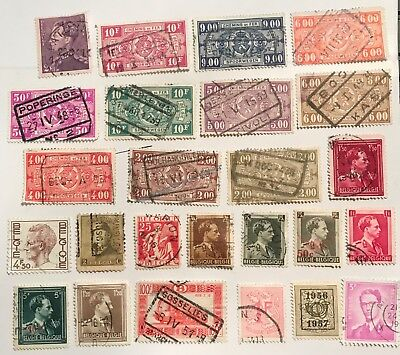 belgium postage stamps lot of 25 old.          J