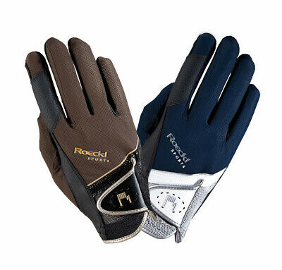 Roeckl Patent Trim Gloves Mocha Adults Horse Riding Equestrian Hand Protector