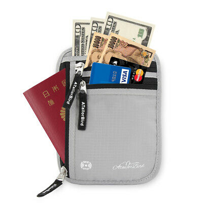 AU ATailorBird RFID Waterproof Neck Wallet Anti-Theft Pouch Credit Card Bag Pack