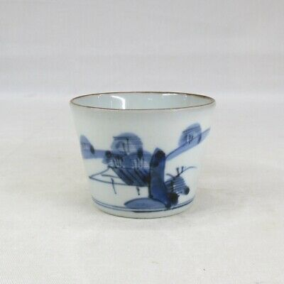 E569: Japanese really old KO-IMARI blue-and-white porcelain cup SOBA-CHOKO