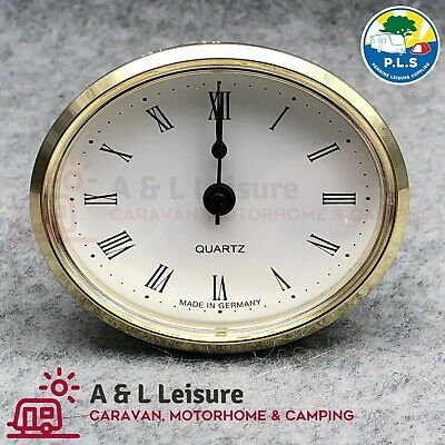 Caravan, Motorhome, Boat  72mm Brass Oval Clock White With Roman Numerals ME508