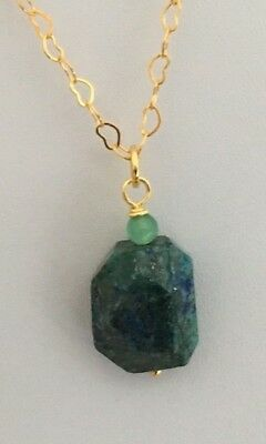 """17.5"""" Gold Plated Heart Chain Blue/Green Lapis Lazuli Nugget Pendant Necklace"""