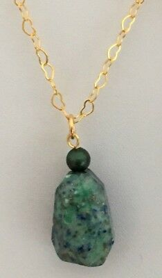 """18"""" Gold Plated Heart Chain Blue/Green Lapis Lazuli Nugget Pendant Necklace"""