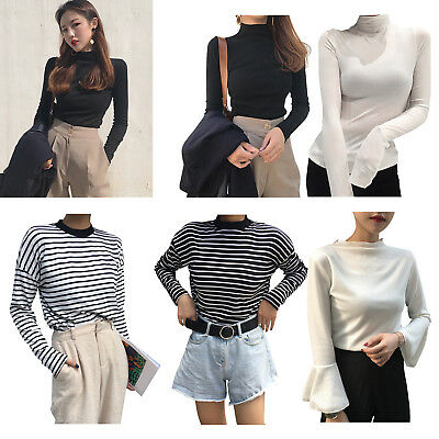 Long Sleeve Slim Fit T-shirt Women Solid Stripe High Neck Bottoming Tees Tops#
