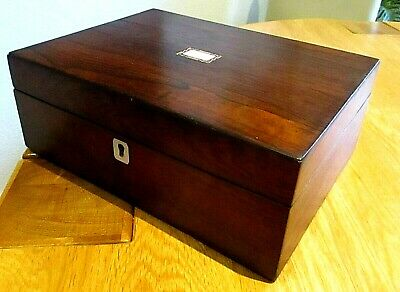 Victorian Rosewood Veneer Sewing/jewellery Box,inlay Bands,red Lined Interior.