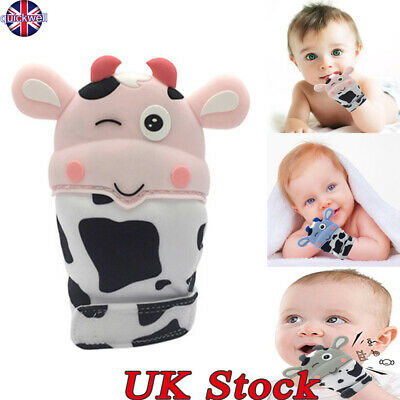Silicone Baby Cow Teething Mitt Teether Mitten Molar Gloves Safe Chew Dummy Toy