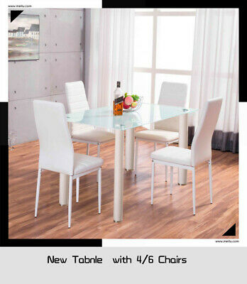 White Stunning Glass Contemporary Dining Table Set with 4 Faux Leather Chairs