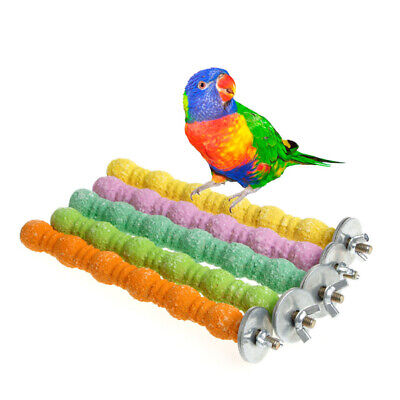 Large Bird Toys Chew Parrot Grinding Colored Emery Stand Cage Cockatiel Parakeet