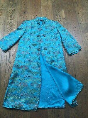 1960s/70s vintage Chinese Turquoise silk embroidered long coat/robe