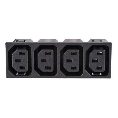 Panel Mount Plug Adapter AC 250V 15A /10A C14 3 Pins 4 Outlets IEC Inlet  Plug