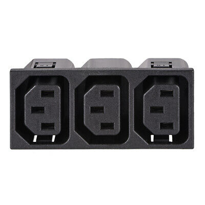 Panel Mount Plug Adapter AC 250V 15A /10A C14 3 Pins 3 Outlets IEC Inlet Plug