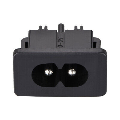 C8 Panel Mount Plug Adapter AC 250V 2.5A 2 Pins IEC Inlet Module Straight