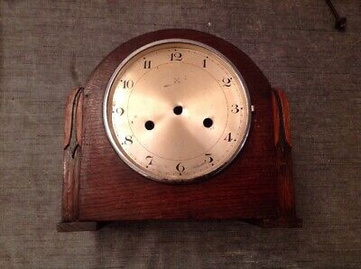 Antique Mantle Clock Case 24.5x21.5x12cm With HAC Dial Clock Face And Gong