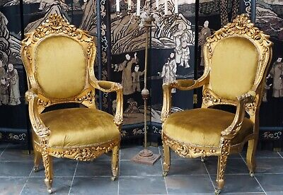 Armchairs French Rococo Gesso Gilt Parlour Chairs Antique Vintage  -  DELIVERY