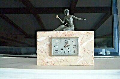 Art Deco Statue Bronze Marble Clock With Key Circa 1930 Shelf Mantel Collector
