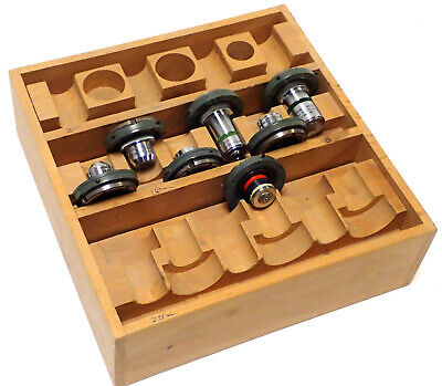 Cooke Microscope Objectives Asst, 6Mm, 4Mm, .25Mm, 1.8Mm, 16Mm, 3Mm & Wood Box