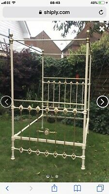 Victorian Antique Four Poster  Double Brass Bed