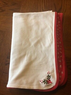 Gymboree 2000 Baby Blanket Flowers Red White Security Lovey Rare Vintage
