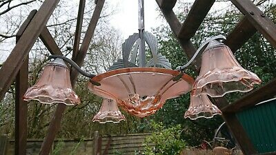 Large Stunning Art Deco Ceiling Light Chrome And Coloured Glass French long drop