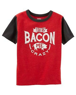 NWT Size 18 Months Oshkosh Toddler Boys Short Sleeve Shirt YOU'RE BACON ME CRAZY