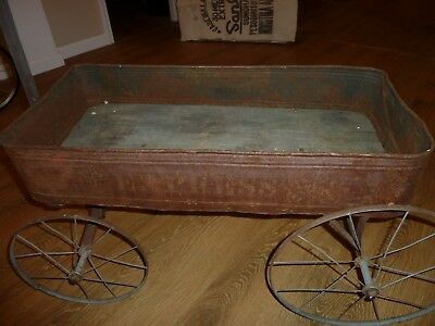 Antique Primitive Tin & Wood Express advertising Child's Pull Wagon Early